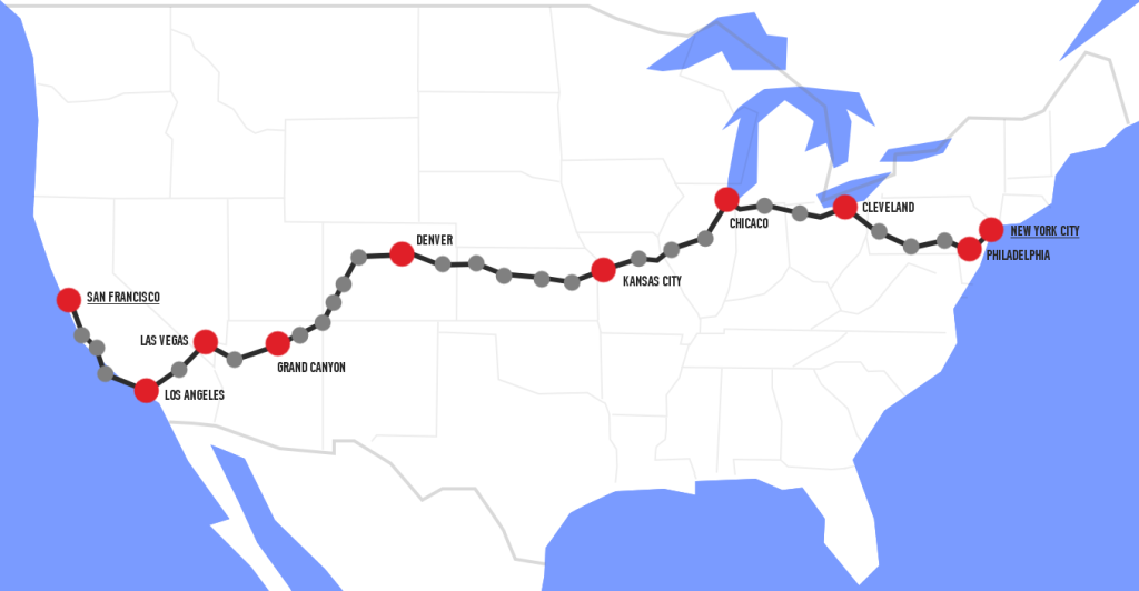 Per Rennrad durch die USA - Routenplanung