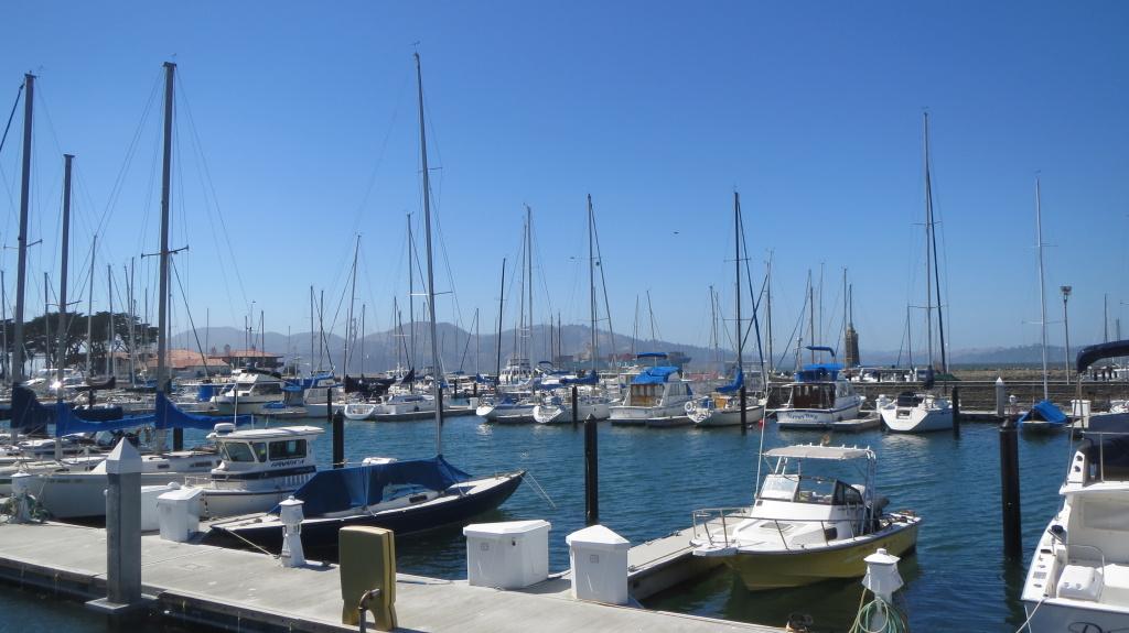 Blick über die Marina - im Hintergrund zwischen den Masten versteckt die Golden Gate Bridge und ein großes Containerschiff
